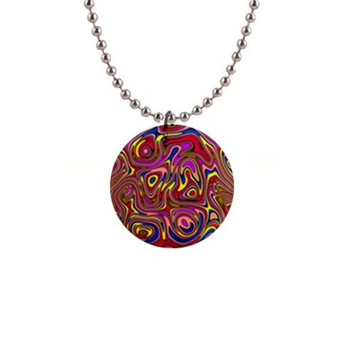 Abstract Shimmering Multicolor Swirly Button Necklaces