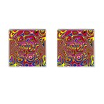 Abstract Shimmering Multicolor Swirly Cufflinks (Square) Front