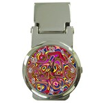 Abstract Shimmering Multicolor Swirly Money Clip Watches Front