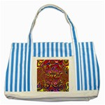 Abstract Shimmering Multicolor Swirly Striped Blue Tote Bag Front