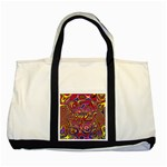 Abstract Shimmering Multicolor Swirly Two Tone Tote Bag Front