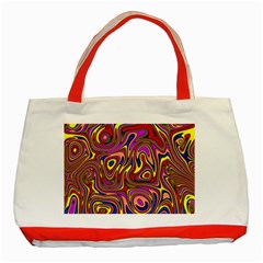 Abstract Shimmering Multicolor Swirly Classic Tote Bag (Red)