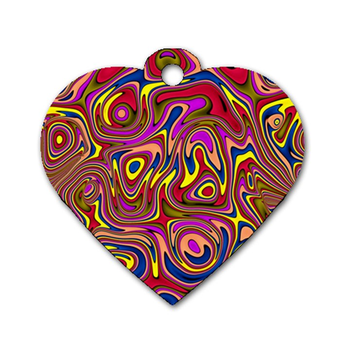 Abstract Shimmering Multicolor Swirly Dog Tag Heart (Two Sides)