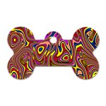 Abstract Shimmering Multicolor Swirly Dog Tag Bone (One Side) Front