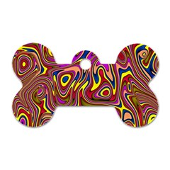Abstract Shimmering Multicolor Swirly Dog Tag Bone (two Sides)