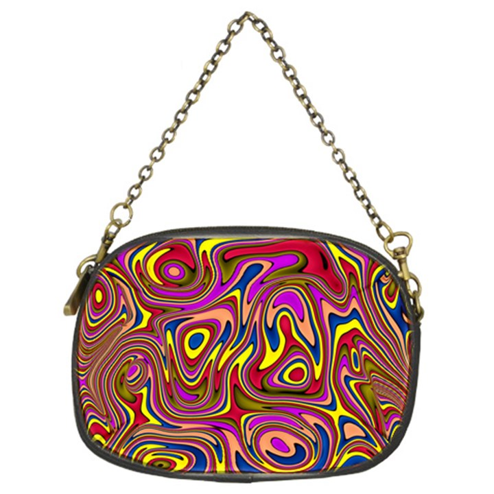 Abstract Shimmering Multicolor Swirly Chain Purses (Two Sides)