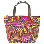 Abstract Shimmering Multicolor Swirly Bucket Bags Front