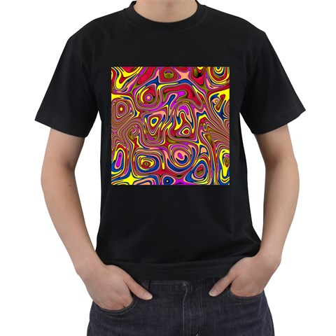 Abstract Shimmering Multicolor Swirly Men s T-Shirt (Black)