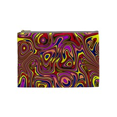 Abstract Shimmering Multicolor Swirly Cosmetic Bag (medium)