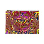 Abstract Shimmering Multicolor Swirly Cosmetic Bag (Large)  Front