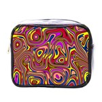 Abstract Shimmering Multicolor Swirly Mini Toiletries Bags Front