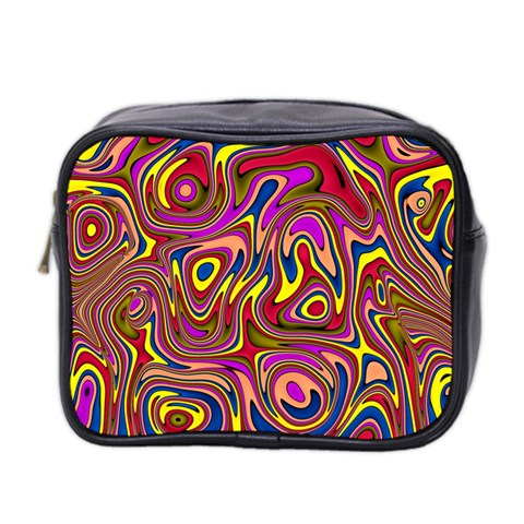 Abstract Shimmering Multicolor Swirly Mini Toiletries Bag 2-Side
