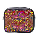 Abstract Shimmering Multicolor Swirly Mini Toiletries Bag 2-Side Front