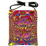 Abstract Shimmering Multicolor Swirly Shoulder Sling Bags Front