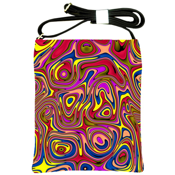 Abstract Shimmering Multicolor Swirly Shoulder Sling Bags