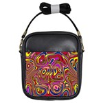 Abstract Shimmering Multicolor Swirly Girls Sling Bags Front