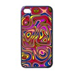 Abstract Shimmering Multicolor Swirly Apple iPhone 4 Case (Black) Front