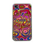 Abstract Shimmering Multicolor Swirly Apple iPhone 4 Case (Clear) Front