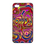 Abstract Shimmering Multicolor Swirly Apple iPhone 4/4s Seamless Case (Black) Front
