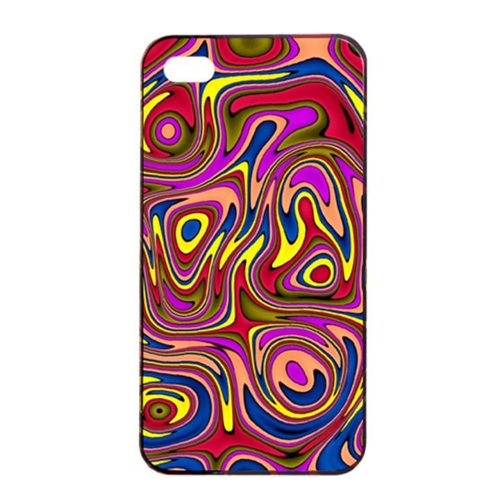 Abstract Shimmering Multicolor Swirly Apple iPhone 4/4s Seamless Case (Black)