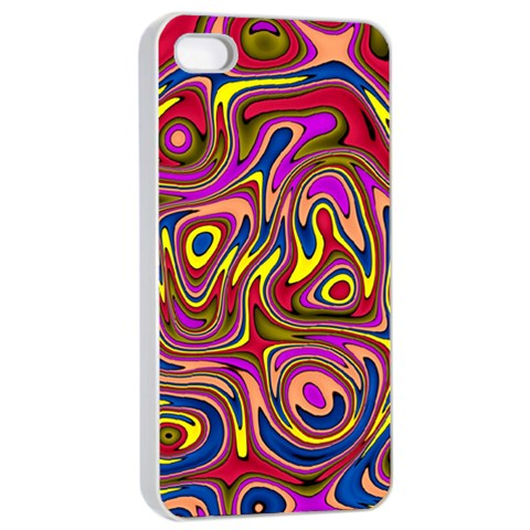 Abstract Shimmering Multicolor Swirly Apple iPhone 4/4s Seamless Case (White)