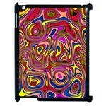 Abstract Shimmering Multicolor Swirly Apple iPad 2 Case (Black) Front