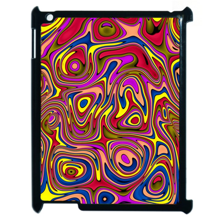 Abstract Shimmering Multicolor Swirly Apple iPad 2 Case (Black)