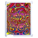 Abstract Shimmering Multicolor Swirly Apple iPad 2 Case (White) Front