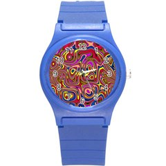 Abstract Shimmering Multicolor Swirly Round Plastic Sport Watch (S)