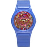 Abstract Shimmering Multicolor Swirly Round Plastic Sport Watch (S) Front