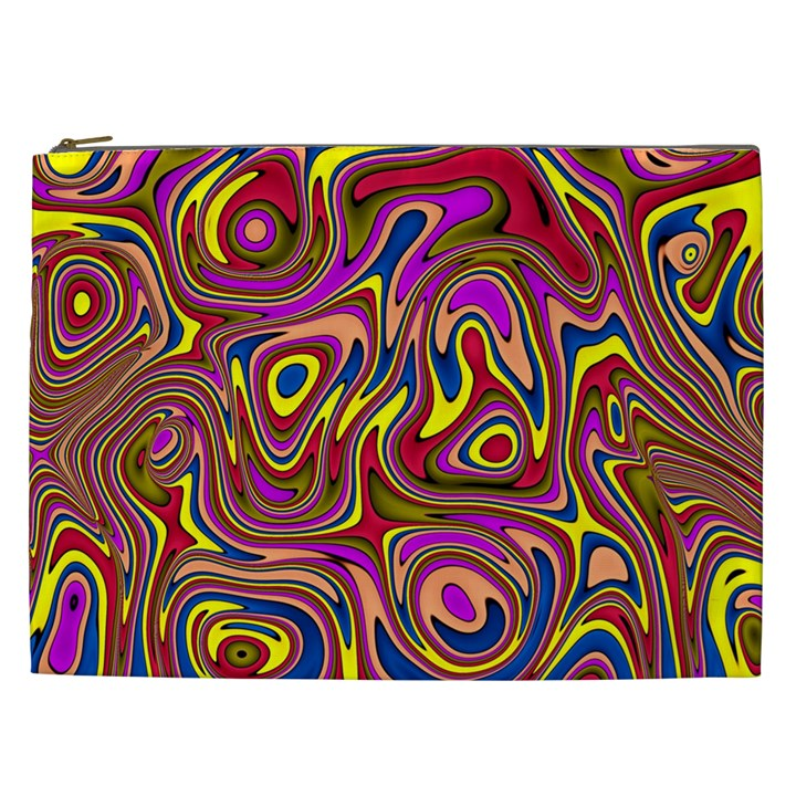 Abstract Shimmering Multicolor Swirly Cosmetic Bag (XXL)