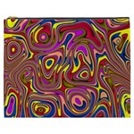 Abstract Shimmering Multicolor Swirly Cosmetic Bag (XXXL)  Front