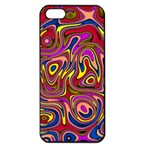 Abstract Shimmering Multicolor Swirly Apple iPhone 5 Seamless Case (Black) Front