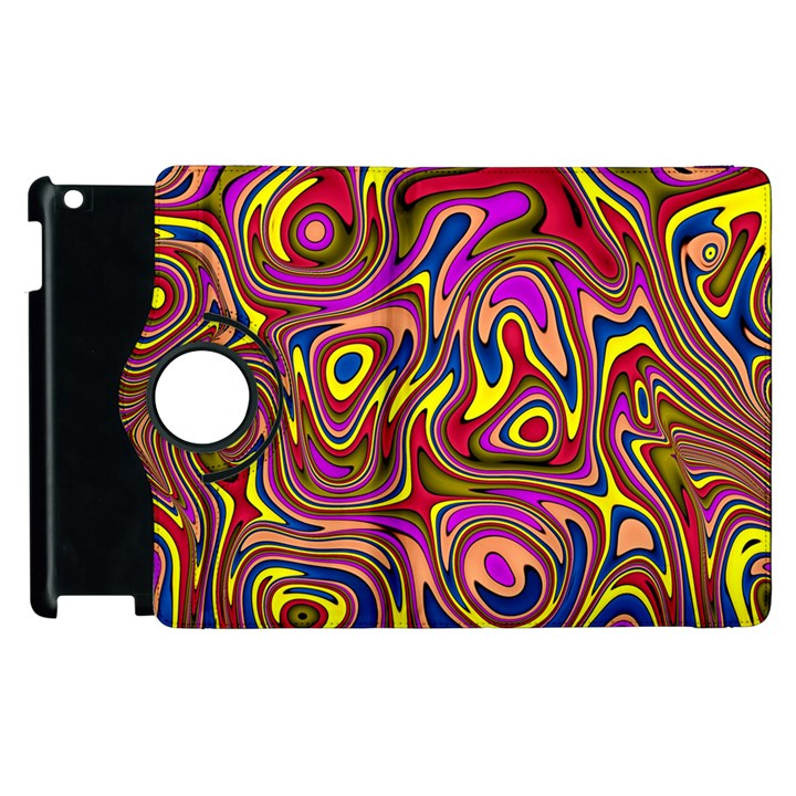 Abstract Shimmering Multicolor Swirly Apple iPad 2 Flip 360 Case
