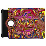 Abstract Shimmering Multicolor Swirly Kindle Fire HD Flip 360 Case Front