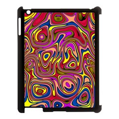 Abstract Shimmering Multicolor Swirly Apple iPad 3/4 Case (Black)