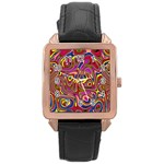 Abstract Shimmering Multicolor Swirly Rose Gold Leather Watch  Front