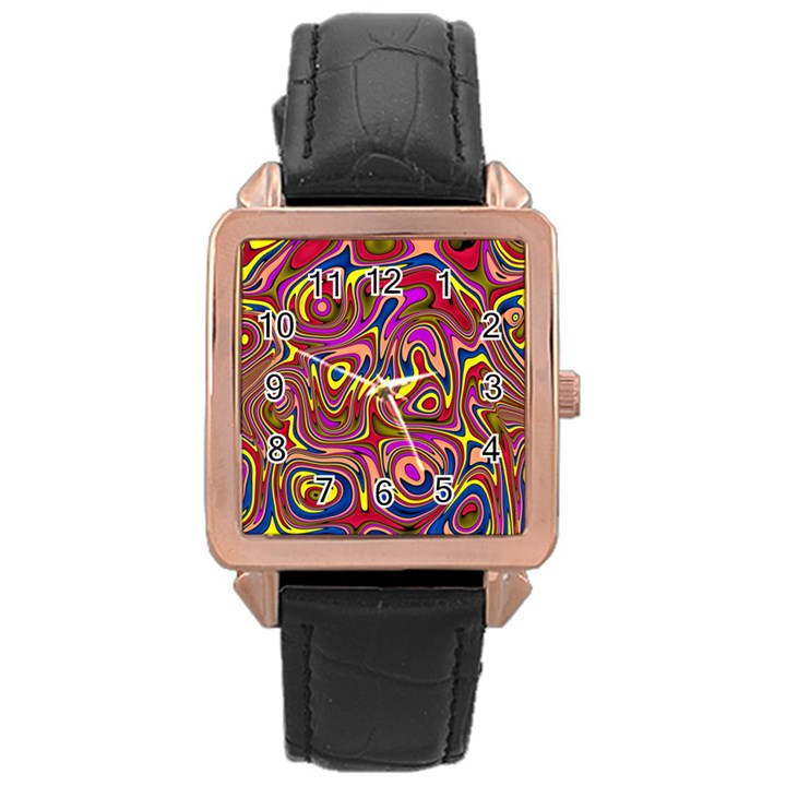 Abstract Shimmering Multicolor Swirly Rose Gold Leather Watch