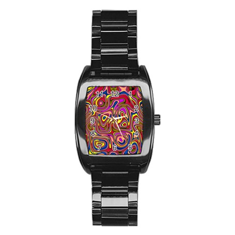Abstract Shimmering Multicolor Swirly Stainless Steel Barrel Watch