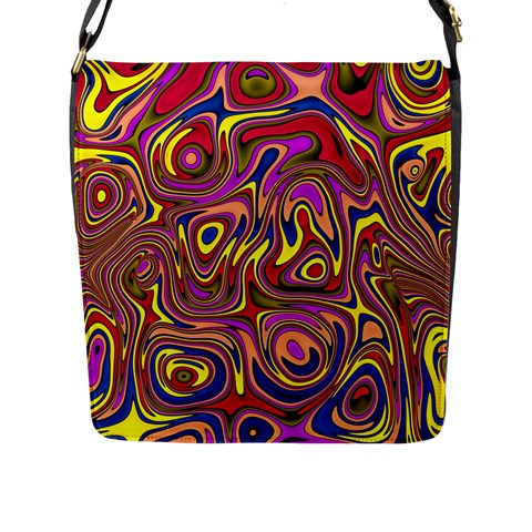 Abstract Shimmering Multicolor Swirly Flap Messenger Bag (L)