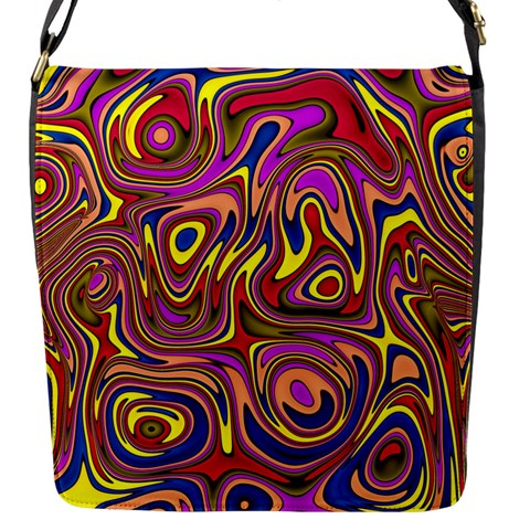 Abstract Shimmering Multicolor Swirly Flap Messenger Bag (S)