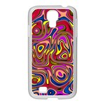 Abstract Shimmering Multicolor Swirly Samsung GALAXY S4 I9500/ I9505 Case (White) Front