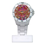 Abstract Shimmering Multicolor Swirly Plastic Nurses Watch Front