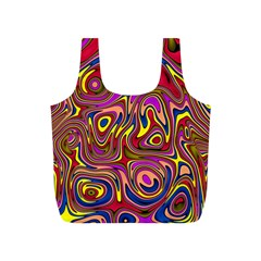 Abstract Shimmering Multicolor Swirly Full Print Recycle Bags (S)