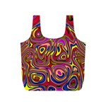 Abstract Shimmering Multicolor Swirly Full Print Recycle Bags (S)  Front