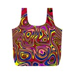 Abstract Shimmering Multicolor Swirly Full Print Recycle Bags (M)  Front
