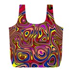 Abstract Shimmering Multicolor Swirly Full Print Recycle Bags (L)  Front