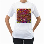 Abstract Shimmering Multicolor Swirly Women s T-Shirt (White)  Front
