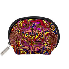 Abstract Shimmering Multicolor Swirly Accessory Pouches (Small)