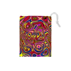 Abstract Shimmering Multicolor Swirly Drawstring Pouches (Small)
